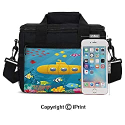 Portable Insulated Cold Coral Reef with Colorful Fish Ocean Life Marine Creatures Tropic Kid Print Picnic Carry Case Thermal Lunch Bag,Blue Yellow Pink