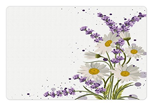 Slash Slip (Lunarable Lavender Pet Mat for Food and Water, Vivid Bouquet with Daisies Color Slashes Scenic Modern Artistic, Rectangle Non-Slip Rubber Mat for Dogs and Cats, Lilac Reseda Green Marigold)