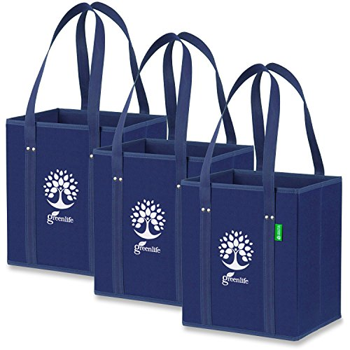 Reusable Grocery Shopping Box Bags (3 Pack - Navy Blue), Premium Quality Heavy Duty Tote Bags with Extra Long Handles & Reinforced Bottom. Foldable, Collapsible, Durable & Eco Friendly