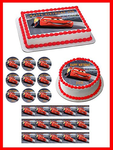 Disney Pixar Cars Lightning McQueen 2 Edible Cupcake Toppers - 2