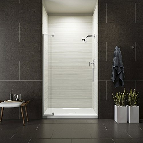 Silver Pivot Shower Door - KOHLER K-707551-L-SHP Revel Pivot Shower Door with 5/16