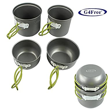 G4Free 4pcs Outdoor Camping Pan Hiking Cookware Backpacking Cooking Picnic Bowl Pot Pan Set(Green)