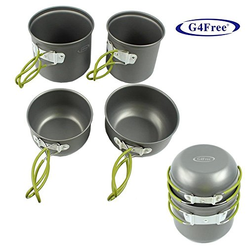 G4Free® 4pcs Outdoor Camping pan Hiking Cookware Backpacking Cooking Picnic Bowl Pot Pan Set made our list of Unique Camping Gifts For Men