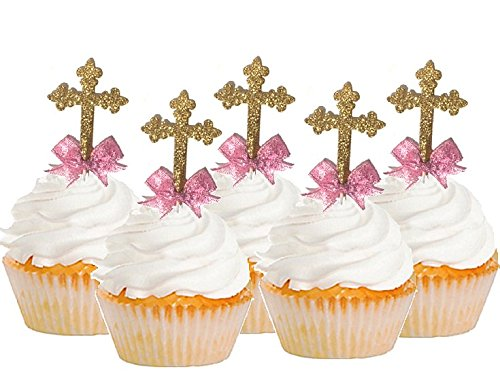 First Communion/Christening/Baptism/Wedding Cake & Cupcake Decoration Toppers (12pk Hand Crafted Picks with Pink Bow)