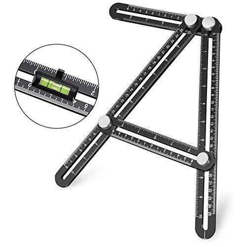 Template Tool, UBeesize Premium Aluminum Alloy Multi-Angle Measuring Ruler with Unique Line Level for DIY, Carpenters, Craftsmen