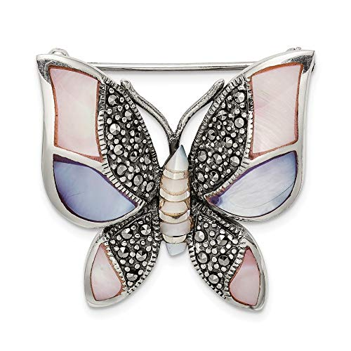 Pin Marcasite And Pearl (925 Sterling Silver Marcasite Mother of Pearl Butterfly Pin)