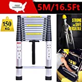 5M/16.5FT Multi-Purpose Telescopic Ladder Aluminium Lightweight Folding Loft Compact Portable Ladder 150KG 13 Steps High Quality Anti-Slip Ladders-150kgs Load