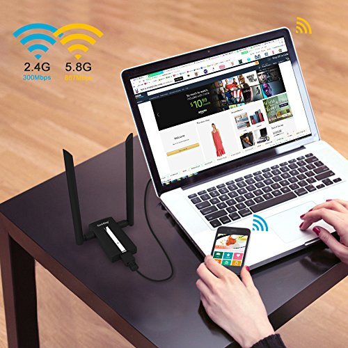 Card King Wifi Adapter AC1200 Usb Wireless Adapter 2.4GHz/ 5GHz Dual Band Network Lan Card with Double High Gain Antenna for Windows 10/8.1/8/7/XP/Mac OS10.6-10.12 by Card-King (Image #4)