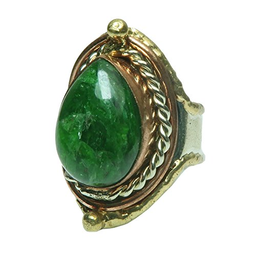 Satin Crystals Opal Ring 4-8 Boutique Green Genuine Teardrop Gemstone Adjustable Copper Brass Silver B01 ()