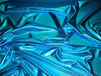Tela de lycra de color turquesa de alta calidad, lisa, metálica, aspecto mojado