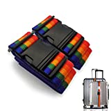 Adjustable Travel Luggage straps Suitcase Belts for Travel Bag Accessories With Address Tag 2Pack (Multicoloured)