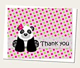 Pink Girl Panda Bear Thank You Cards and Envelops (Set of 12) - Baby Shower or Birthday Party