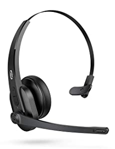 TaoTronics Trucker Bluetooth Headset, Wireless Bluetooth 5.0, Smart AI Noise Reduction Technology, 34H Playtime, Mute Button, Over Ear Headset with Microphone