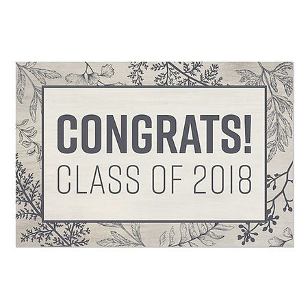 CGSignLab | ''Graduation Party -Rustic Girl2'' Repositionable Opaque White 1st Surface Static-Cling Non-Adhesive Window Decal (5-Pack) | 36''x24'' by CGSignLab