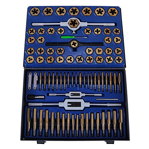 Happybuy Tap and Die Set 86PCS Combination SAE / Metric Tap and Die Kit for Cutting External and Internal Threads with Storage Case -