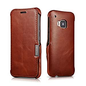 For HTC One M9,Deluxe Premium Rugged Genuine Real Leather [Vintage Series] Flip [Slim Fit ] Magnetic Closure Cover Case With Credit Card Holder For HTC One M9 Brown