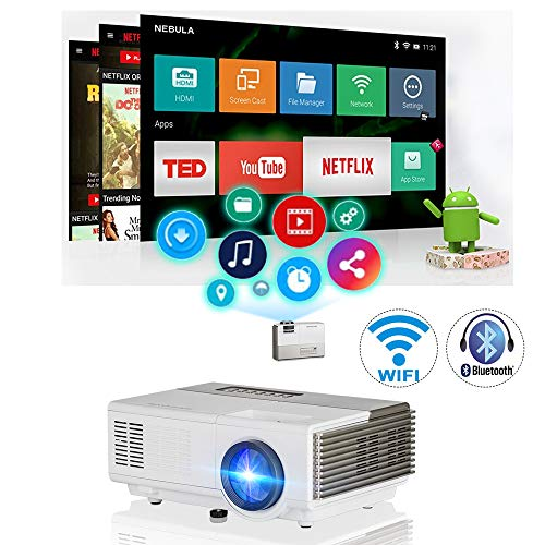 Mini Portable Bluetooth Projector WiFi Android Home Theater Cinema LCD LED Smart Video Projectors Support HD 1080P Airplay HDMI USB VGA AV for PC Smartphone DVD Game Consoles Laptop Outdoor Movie