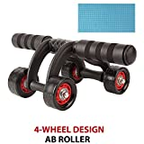 ACTIFIT Upgraded 4-Wheel Ab Roller with Knee Mat, Abdominal Workout Fitness Exercise Equipment