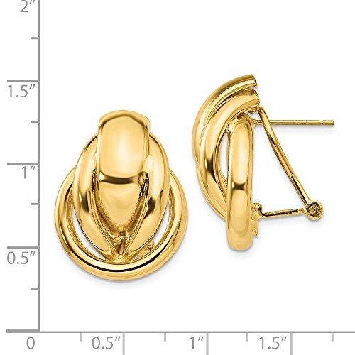 14k Yellow Gold Polished Fancy Omega Back Post Earrings (0.9IN x 0.7IN)