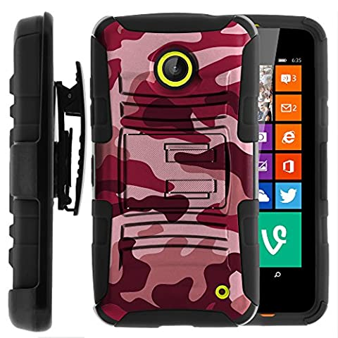 Nokia Lumia 635 Case, Nokia Lumia 630 Case, Two Layer Hybrid Armor Hard Cover with Built in Kickstand and Holster Belt Clip for Nokia Lumia 635, 630 (AT&T, Sprint, T Mobile, Cricket, Virgin Mobile, Boost Mobile, MetroPCS) from MINITURTLE | Includes Screen Protector - Red (Nokia Lumia 635 Cases For Guys)