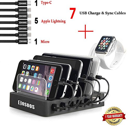 Charging Station 5 Lightning Cables,1 USB-C,1 Micro B Cable,iWatch Holder, COSOOS 6-Port USB Charger Station Docking Stand,Best Device Organizer iPhone,iPad,iPod,Smart Phones,Kindle Fire from COSOOS