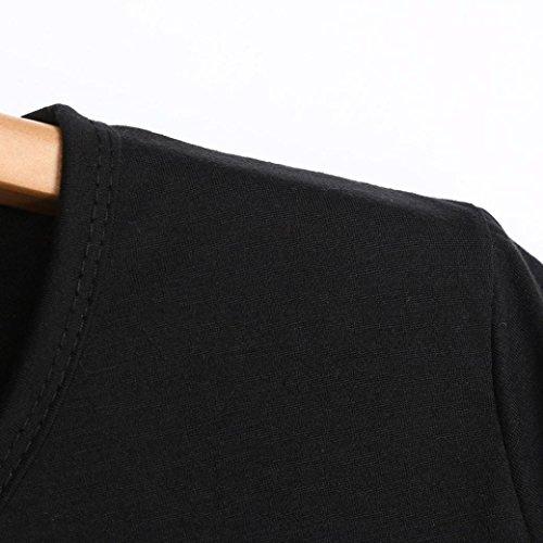 suelto de manga Top redondo Carta Moda Ropa Color corta de Blusa simple puro Stretch Negro Top Mujeres Adeshop Verano corta Cuello Casual Camisa manga 6p1qq8txw
