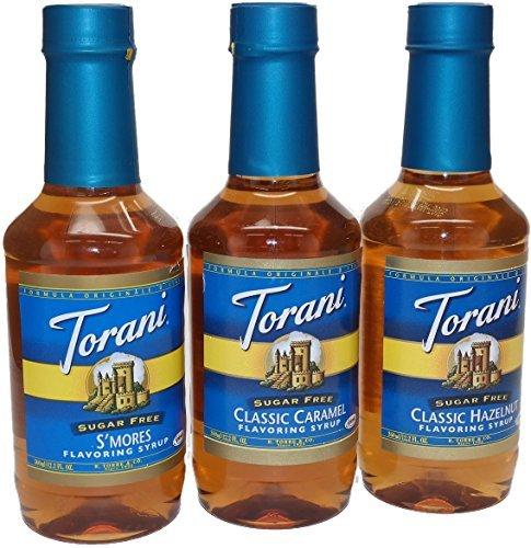 Torani Sugar Free Flavoring Syrup 3 Flavor Variety Bundle Classic Hazelnut, Smores & Classic Caramel 12.2 Fl. Oz. Ea.