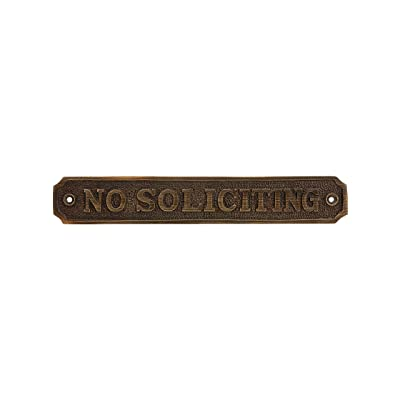 """Cast Brass""""No Soliciting"""" Sign in Antique Brass"""