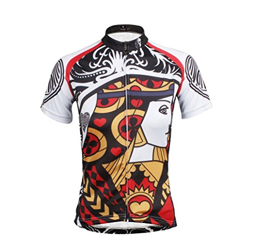 QinYing Women Poker Patterns Breathable Outdoor Bicycle Cycling Jersey Top XXL