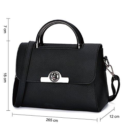 BYD mujeres Mini bolsa de hombro Bolso de monedero de mensajero de leather bolso de hombro de moda de vendimia mujeres Take-hebilla de metal de más seguro negro