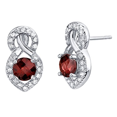 Garnet Sterling Silver Crossover Stud Earrings 2.00 Carats Total (Raspberry Garnet Ring)