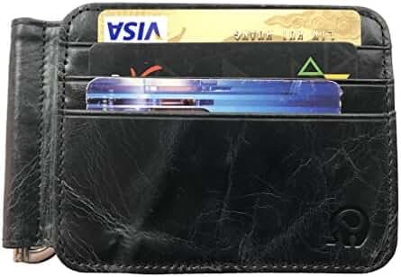 Lionpapa Men's Slim Bifold Front Pocket Wallet Leather Spring Loaded Money Clip