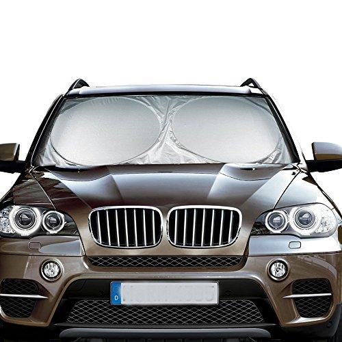 MATCC Windshield Sun Shade Car Sun Shade Windshield 210T Excellent UV Reflector Keeps Vehicle Cooler Folding Silvering Sun Visor Heat Sun Reflector Large 62'' x 34''(160 x 86cm)