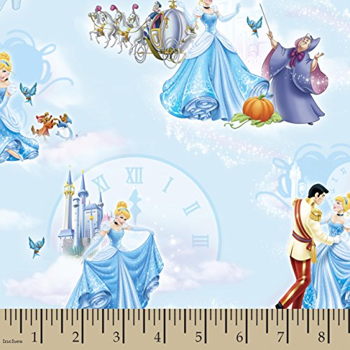 "Disney Princess Movie Moments Cinderella at The Ball Fabric, 43/44"" Width, Blue"