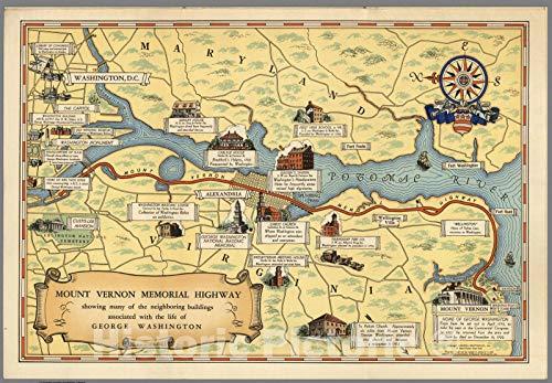 Historic Map   Pocket Map, Mount Vernon Memorial Highway 1932   Vintage Wall Art   44in x 31in