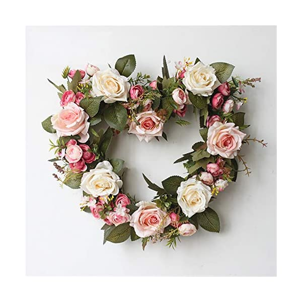 Liveinu Handmade Floral Artificial Simulation Peony Flowers Garland Wreath Wedding Table Centerpieces for Home Party Decor 14″ Heart Shape Rose Red Door Wreath