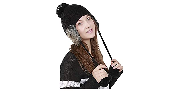 Amazon.com  Autumn Water Fashion Pom Pom Knitted Hat with Earmuffs Women  Winter Warm Hats Fur Hats Pom Poms Ball Beanie Caps Thick Skullies Female  Cap  ... 460ee17bc3d8