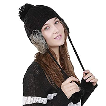 Autumn Water Fashion Pom Pom Knitted Hat with Earmuffs Women Winter Warm  Hats Fur Hats Pom 214012283c79
