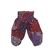 Lofbaz Baby Hippie Harem Child Retro Colourful Peacock Boho Pants Red & Blue Size 0-3M