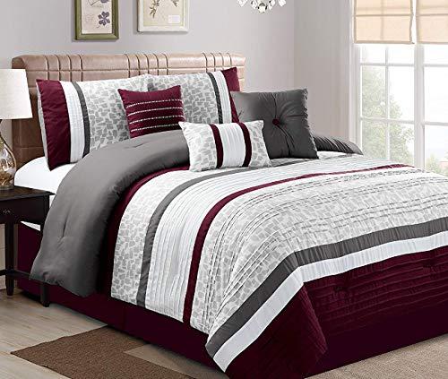 - JBFF 21178 CK Oversize Luxury Stripe (7 Piece) Bed in Bag Microfiber Comforter Set, California King,Purple, Cal