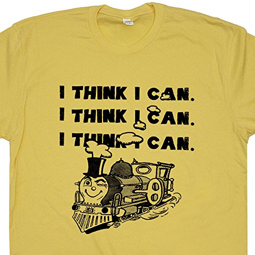 XXL - I Think I Can Train T Shirts Positive Inspirational Quote Cute Gym Yoga Namaste Crossfit Thomas Soul Tee Retro Mens Womens Kids Shirtmandude (Think Positive T Shirt compare prices)