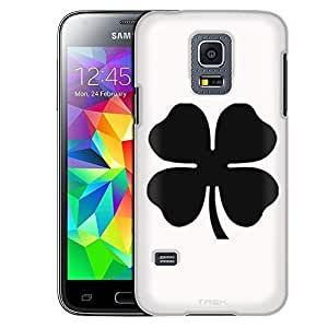 Samsung Galaxy S5 Mini Case, Slim Fit Snap On Cover by Trek Silhouette Four Leaf Clover Irish Ireland on White Case