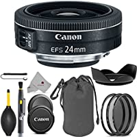Canon EF-S 24mm f/2.8 STM Lens 9522B002 USA Full Accessory Pancake Bundle Package Deal