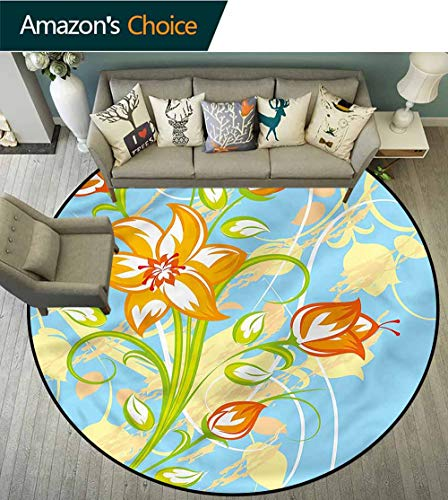 RUGSMAT Floral Round Rugs for Bedroom,Tiger Lily Blooming Buds Non-Skid Bath Mat Living Room/Bedroom Carpet - Lily Tiger Nursery