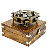 5'' Triangular Beautiful Nautical Sundial Compass With Level Meter Encased In Genuine Rosewood Anchor Inlaid Case   Maritime Decor Gifts