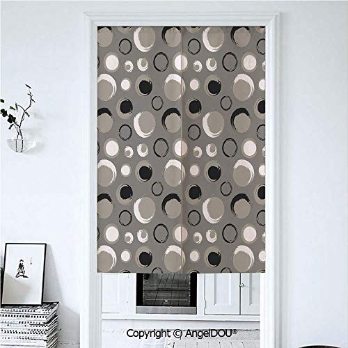 AngelDOU Taupe Summer Automatic Closing Curtains Valances Grunge Circles Dots Brushstrokes Hand Painted Modern Design Messy Artistical Door Screen Partition Curtain. 39.3x59 inches (Dot Circle Valance)