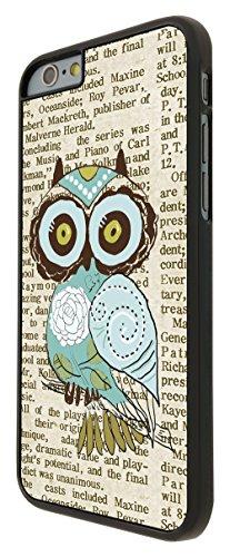 051 - Cute Owl Vintage newspaper 51 Funky Design iphone 6 6S 4.7'' Coque Fashion Trend Case Coque Protection Cover plastique et métal - Noir