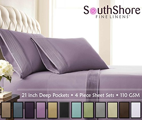 Yarn Fuchsia Plum - Southshore Fine Linens- 4 Piece - Extra Deep Pocket Pleated Sheet Set, Queen, Lavender