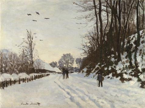 Oil Painting 'Claude Monet - The Road To The Farm Saint-Simeon In Winter, 1867', 8 x 11 inch / 20 x 27 cm , on High Definition HD canvas prints, gifts for Game Room, Kitchen And Powder Room Decoration
