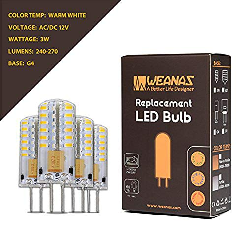 Weanas 4x G4 Base 48 LED Light Bulb Lamp 3 Watt AC DC 12V/10-20V Warm White Undimmable Equivalent to 20W T3 Halogen Track Bulb Replacement 360° Beam Angle 12v Ac Halogen Lamps